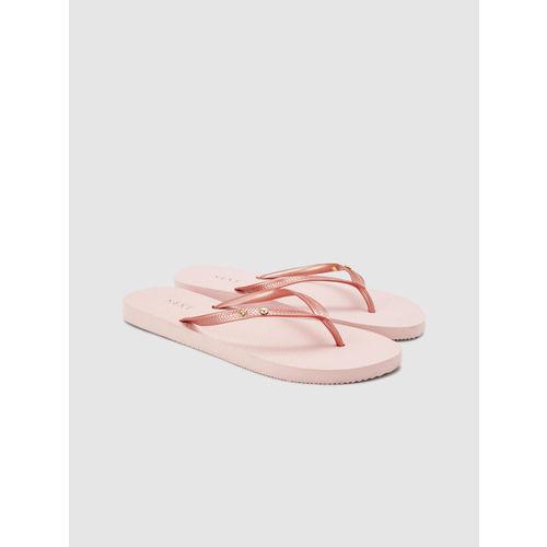next Women Pink Solid Thong Flip-Flops