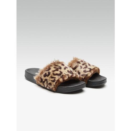 Street Style Store Women Beige & Brown Leopard Print Faux Fur Sliders