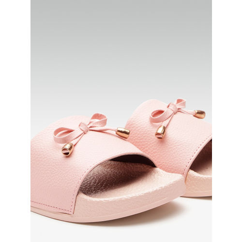Street Style Store Women Pink Solid Sliders with Bow Detail