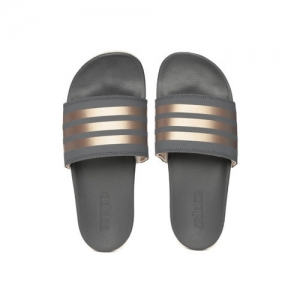 ADIDAS Women Bronze-Toned & Charcoal Grey Adilette Comfort Striped Sliders