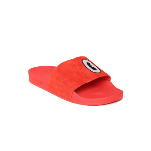 ADIDAS Originals Women Red Adilette Embroidered Leather Sliders