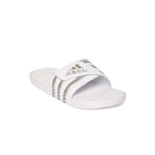 ADIDAS Unisex White & Silver-Toned ADISSAGE Striped Sliders