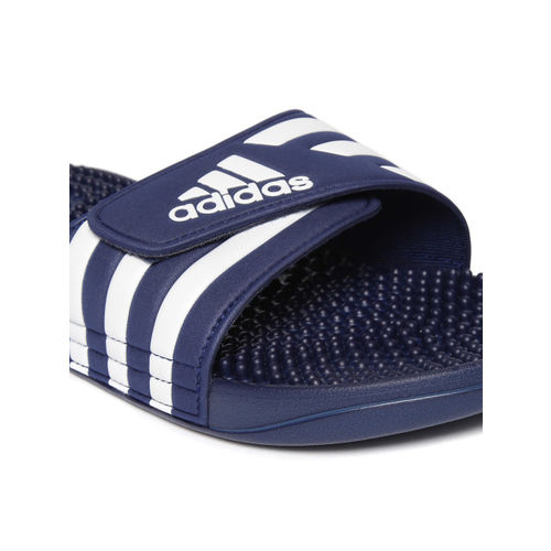 ADIDAS Unisex Navy Blue & White ADISSAGE Striped Sliders