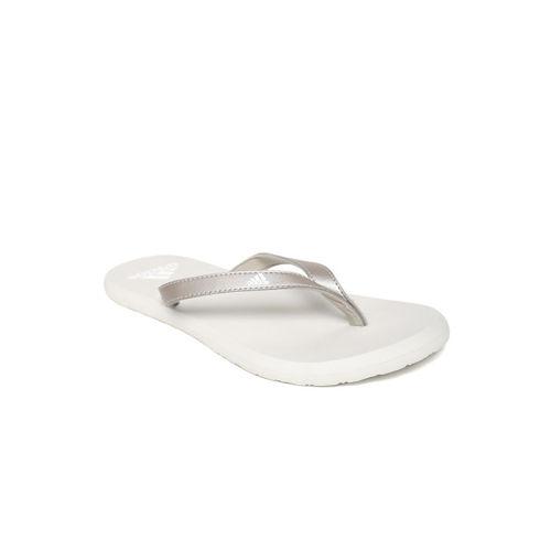 ADIDAS Women Silver-Toned & Off-White EEZAY Thong Flip-Flops