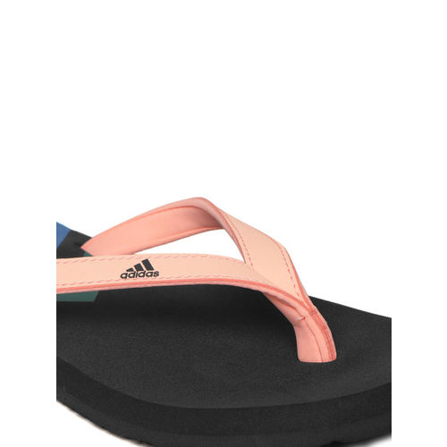 ADIDAS Women Peach-Coloured & Black EEZAY Colourblocked Thong Flip-Flops