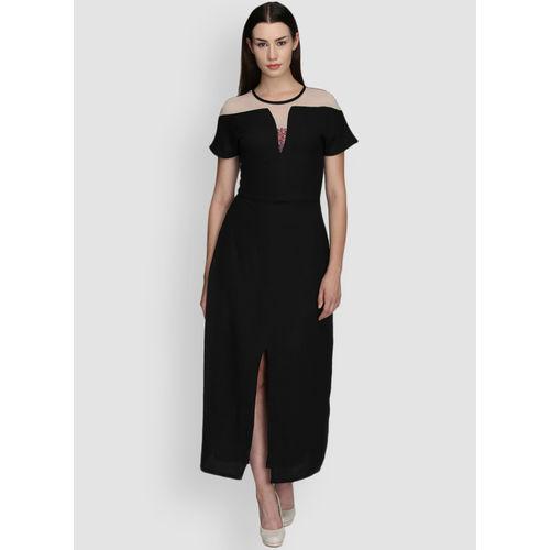 LA LOFT Black Solid Flared Sleeves A-Line Dress