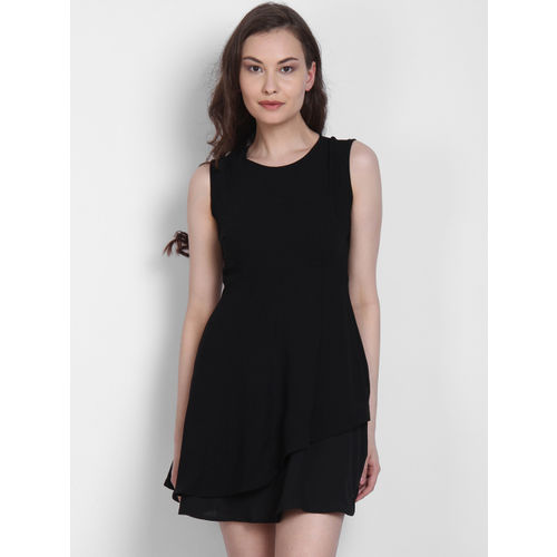 LA LOFT Black Solid Fit and Flare Dress