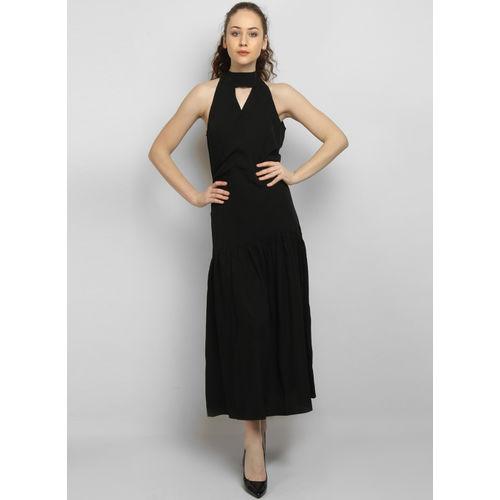 LA LOFT Black Solid Wrap Dress