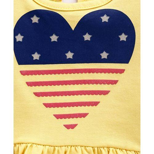 Babyhug Full Sleeves Heart Print Frilled T-Shirt - Yellow