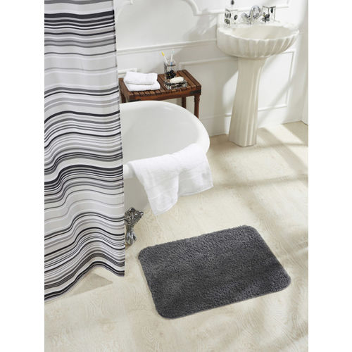 OBSESSIONS Grey Tuffted Polyester Microfiber Diana Grey Bathmat