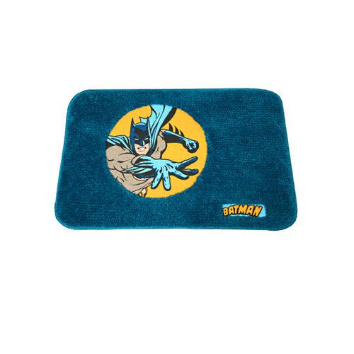 Saral Home Kids Turquoise Blue Batman Printed Microfibre Anti-Skid Bath Rug