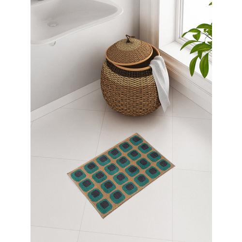 Es Brown Green Geometric Patterned Bath Rug Online