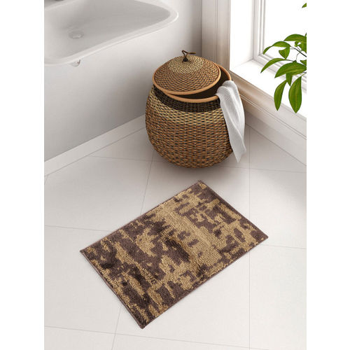 SPACES Brown Patterned Plush Bath Rug