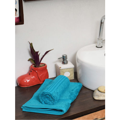 Avira Home Set of 2 Blue Solid 600 GSM Cotton Hand Towels