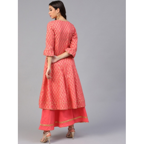 Bhama Couture Women Coral Printed Kurta with Palazzos