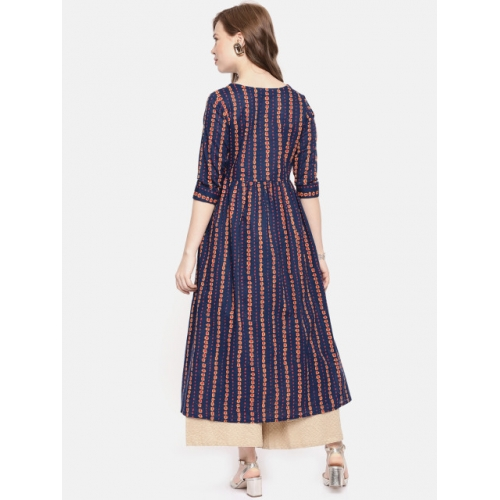 Alena Navy Blue & Yellow Printed A-Line Kurta