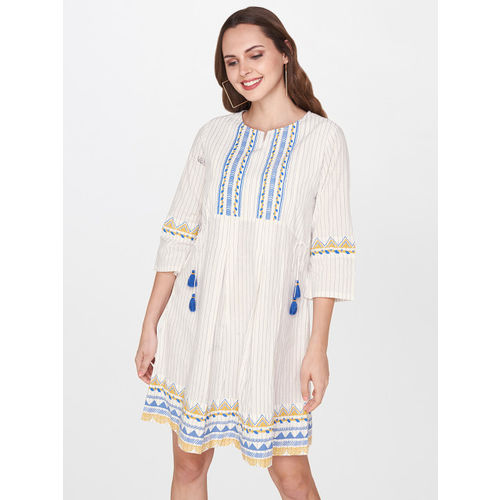 Global Desi Women White & Blue A-Line Dress