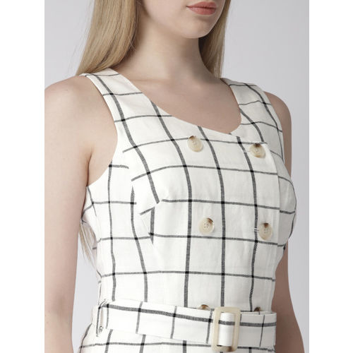 Marks & Spencer Women White & Black Checked A-Line Dress