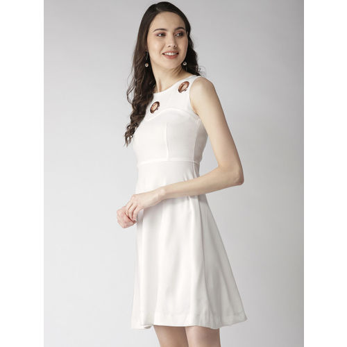 Madame Women White Solid Fit & Flare Dress