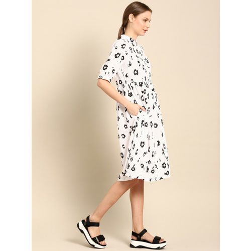 ether Women White & Black Fit and Flare Dress