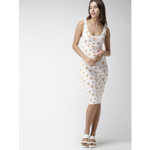 FOREVER 21 Women White Printed Bodycon Dress