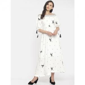 CODE by Lifestyle Women White & Black Self Design Maxi Dress
