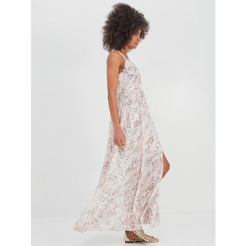 promod Women White Printed Fit and Flare Dress