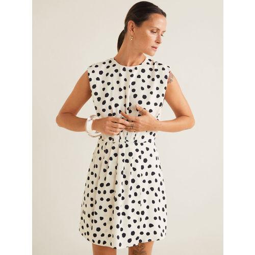 MANGO Women White & Black Printed A-Line Dress