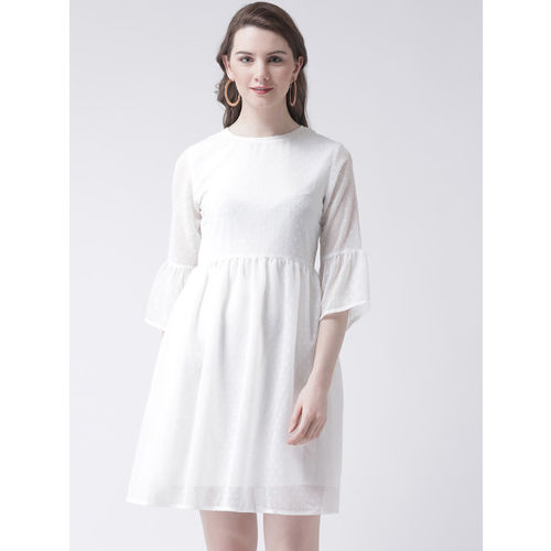 The Vanca Women White Self Design Fit and Flare Dress