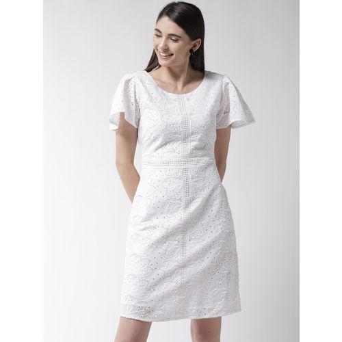 Marks & Spencer Women White Schiffli Embroidered A-Line Dress