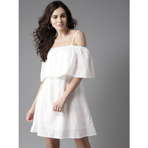 Moda Rapido Women White Solid Off-Shoulder A-Line Dress