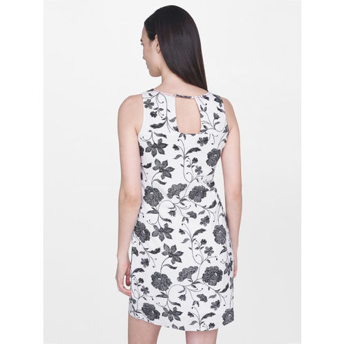 AND Women White & Black Printed Sheath Dress