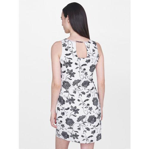 AND Women White & Black Printed Sheath Dress