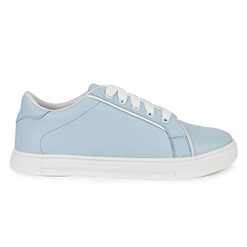 Zyma Blue Synthetic Leather Lace Up Sneakers