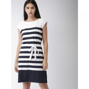 7f008b49d26 Buy Mast & Harbour Women Pink & White Striped T-shirt Dress online ...