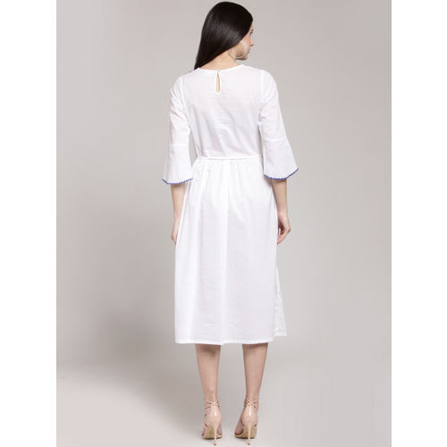plusS Women White Solid Fit and Flare Dress