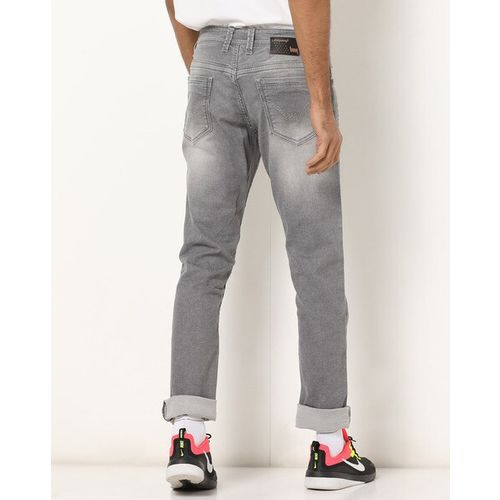 LAWMAN PG3 Lightly Washed Mid-Rise Slim Fit Jeans