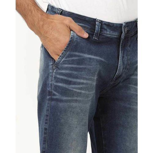 LAWMAN PG3 Mid-Rise Washed Slim Fit Jeans with Whiskers