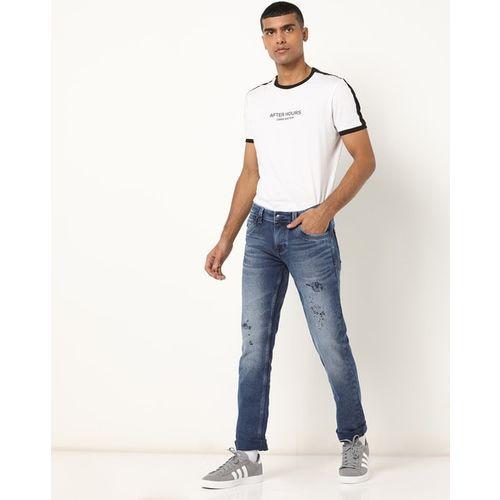 LAWMAN PG3 Mid-Wash Distressed Skinny Jeans