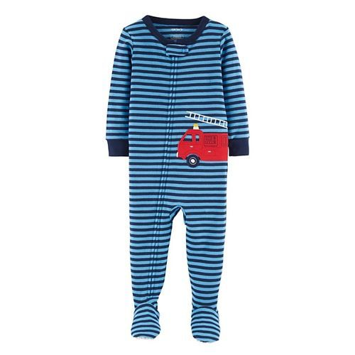 Carter's 1-Piece Firetruck Snug Fit Cotton Sleepsuit - Blue