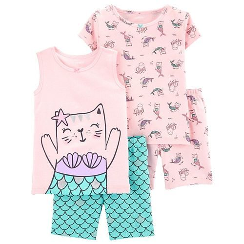 Carter's 4-Piece Cat Mermaid Snug Fit Cotton PJs - Pink Sea Green