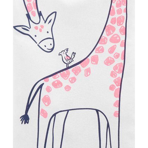 Carter's 4-Piece Giraffe Snug Fit Cotton PJs - Pink Grey