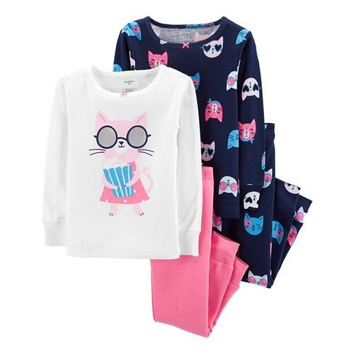 Carter's 4-Piece Cat Snug Fit Cotton PJs - Multicolour