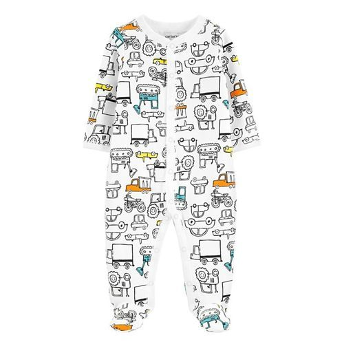 Carter's Trucks Snap-Up Cotton Sleep & Play - White