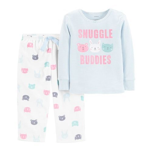 Carter's 2-Piece Snuggle Buddies Snug Fit Cotton & Fleece PJs - Sky Blue
