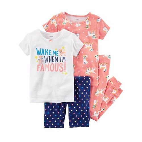 Carter's 4-Piece Snug Fit Cotton Night Suit Pack of 2 - White Peach