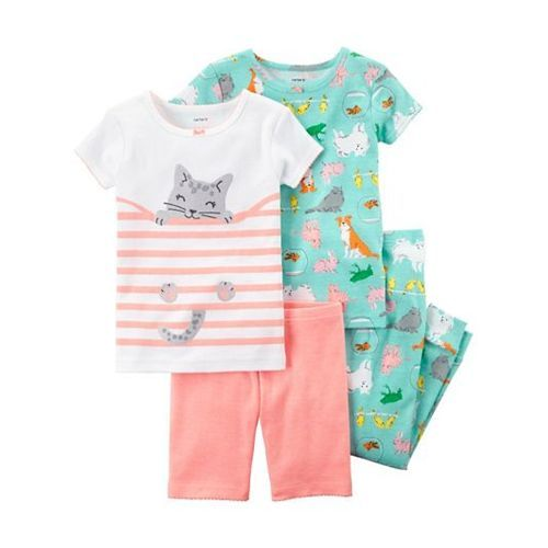 Carter's 4-Piece Neon Snug Fit Cotton Night Suit Pack of 2 - Peach Green
