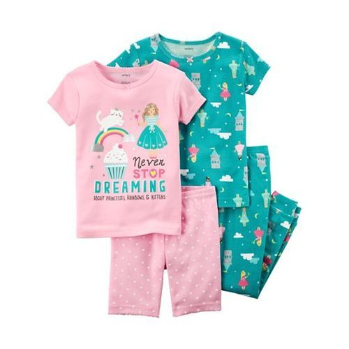 Carter's 4-Piece Snug Fit Cotton Night Suit Pack of 2 - Pink Green