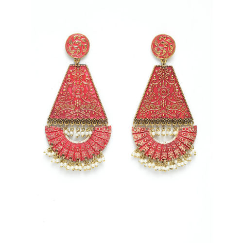 AKS Women Pink & Gold-Plated Contemporary Handcrafted Drop Earrings