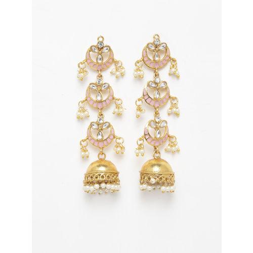 Priyaasi Gold-Plated & Pink Dome Shaped HandPainted Jhumkas